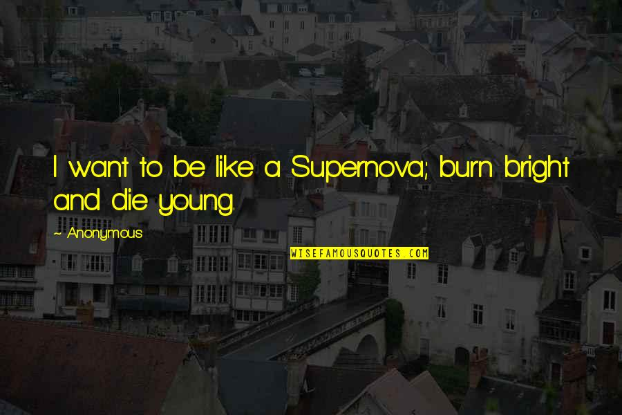 Universe And Stars Quotes By Anonymous: I want to be like a Supernova; burn