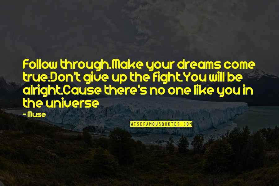 Universe Music Quotes By Muse: Follow through.Make your dreams come true.Don't give up