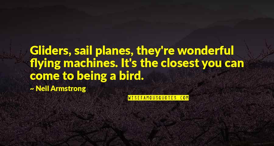 Unnailed Quotes By Neil Armstrong: Gliders, sail planes, they're wonderful flying machines. It's