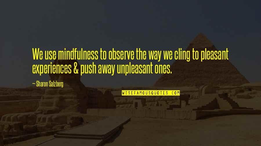 Unpleasant Experiences Quotes By Sharon Salzberg: We use mindfulness to observe the way we