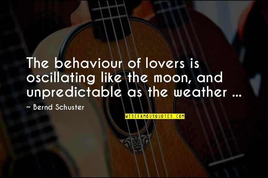 Unpredictable Behaviour Quotes By Bernd Schuster: The behaviour of lovers is oscillating like the