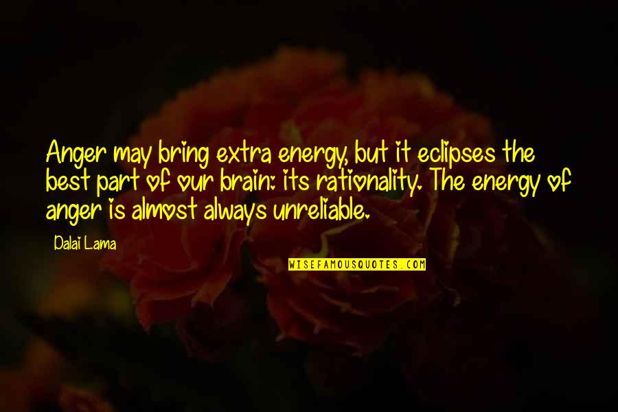 Unreliable Quotes By Dalai Lama: Anger may bring extra energy, but it eclipses