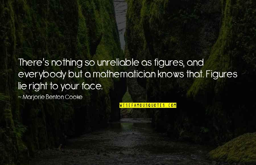 Unreliable Quotes By Marjorie Benton Cooke: There's nothing so unreliable as figures, and everybody