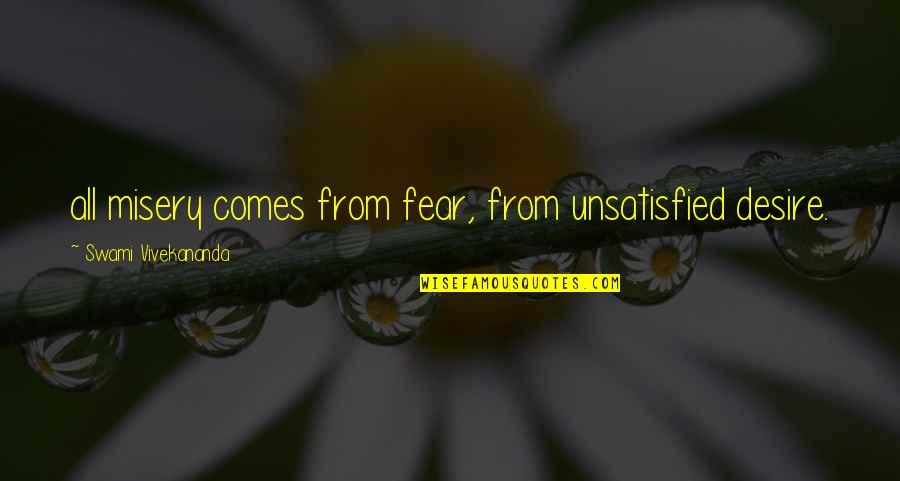 Unsatisfied Quotes By Swami Vivekananda: all misery comes from fear, from unsatisfied desire.