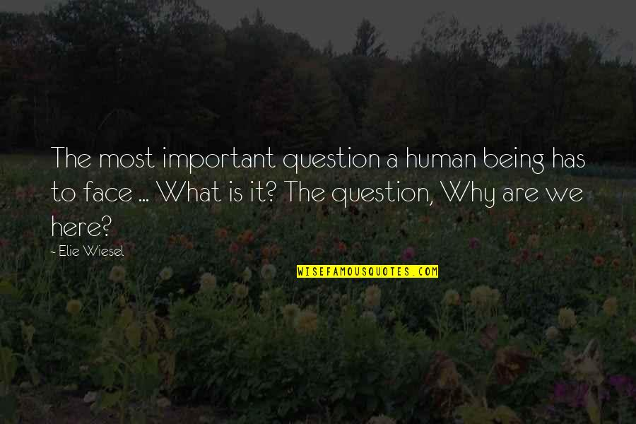 Unsers Quotes By Elie Wiesel: The most important question a human being has