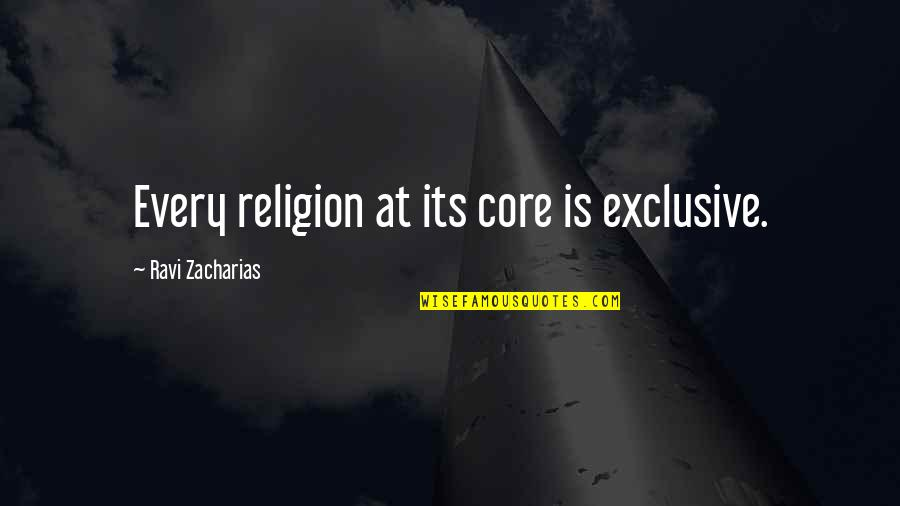 Unsupportive Partner Quotes By Ravi Zacharias: Every religion at its core is exclusive.