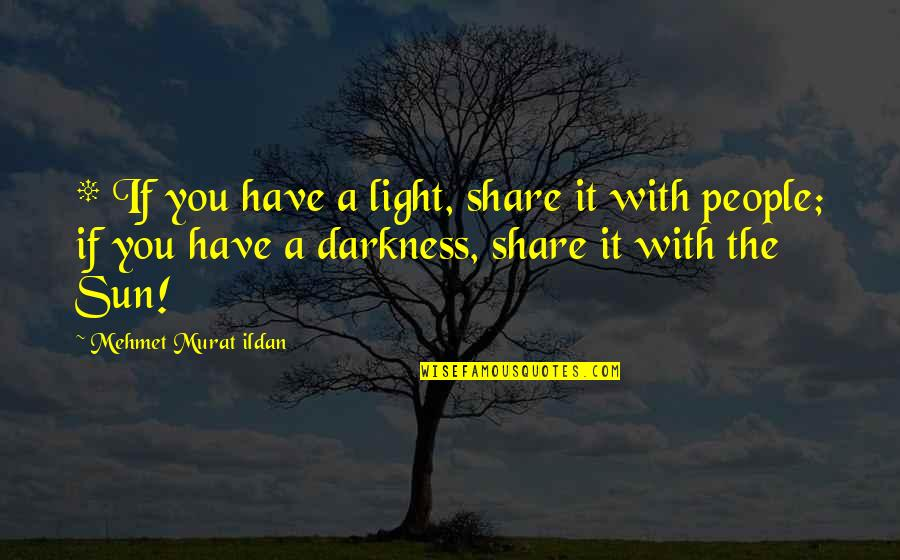 Untamableness Quotes By Mehmet Murat Ildan: * If you have a light, share it