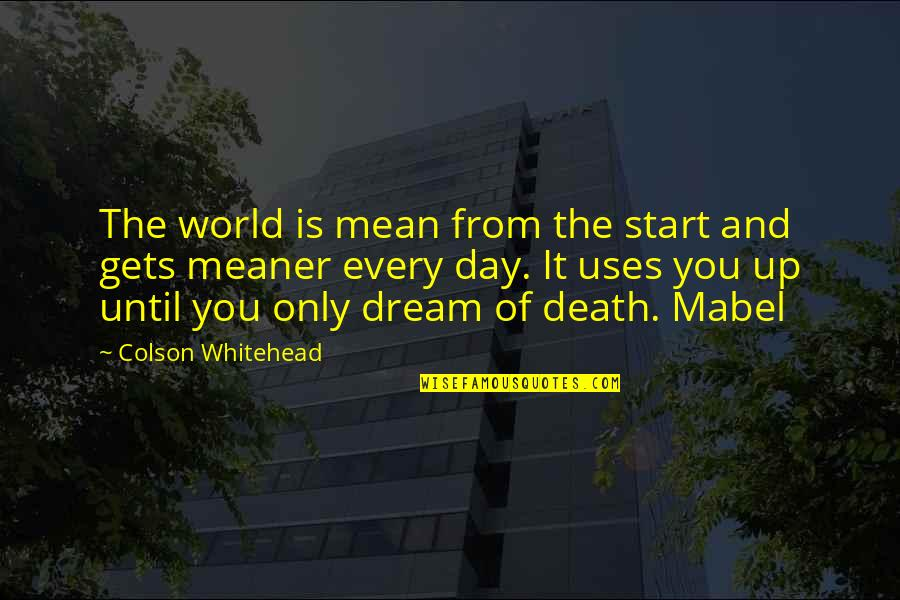Until Death Quotes By Colson Whitehead: The world is mean from the start and