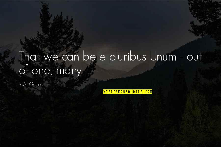 Unum Quotes By Al Gore: That we can be e pluribus Unum -