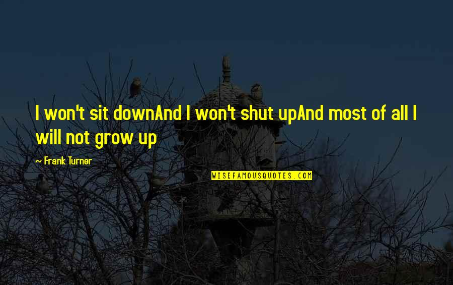 Up And Down Quotes By Frank Turner: I won't sit downAnd I won't shut upAnd