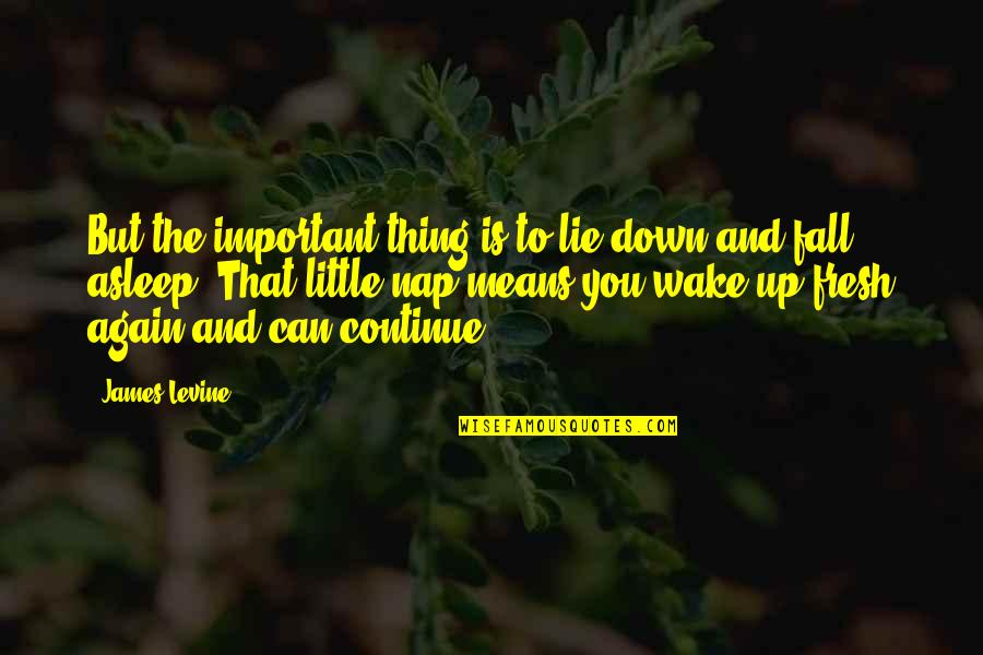 Up And Down Quotes By James Levine: But the important thing is to lie down