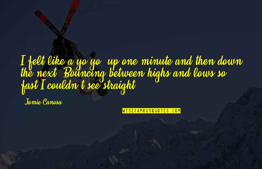 Up And Down Quotes By Jamie Canosa: I felt like a yo-yo, up one minute