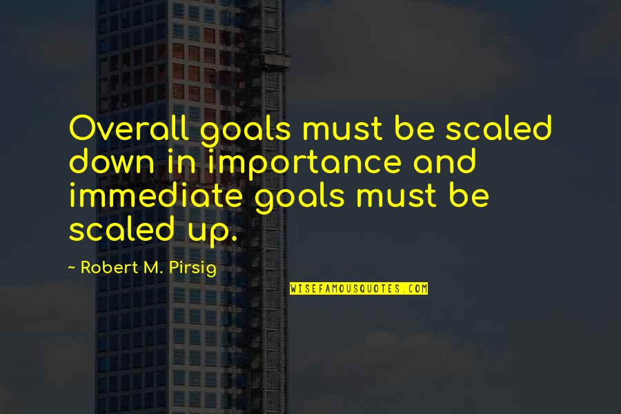 Up And Down Quotes By Robert M. Pirsig: Overall goals must be scaled down in importance