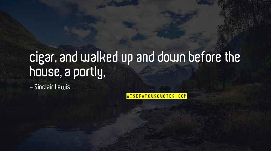 Up And Down Quotes By Sinclair Lewis: cigar, and walked up and down before the