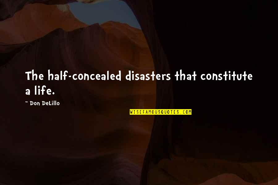 Updated Work Quotes By Don DeLillo: The half-concealed disasters that constitute a life.