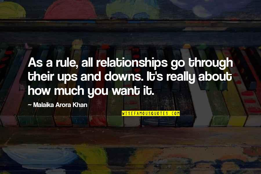 Ups Downs Quotes By Malaika Arora Khan: As a rule, all relationships go through their
