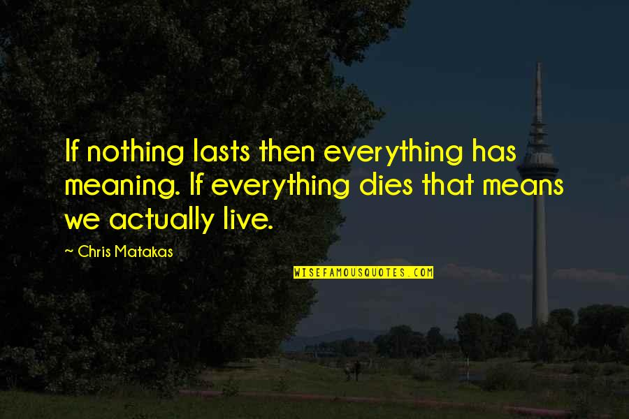 Urgency Quotes By Chris Matakas: If nothing lasts then everything has meaning. If