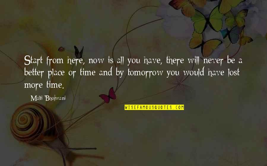 Urgency Quotes By Malti Bhojwani: Start from here, now is all you have,