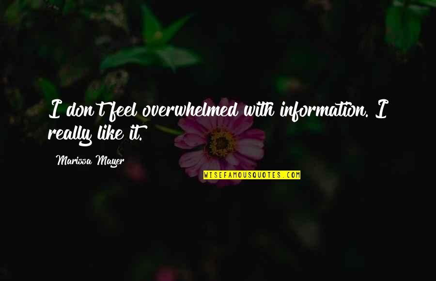 Us Marine Motto Quotes By Marissa Mayer: I don't feel overwhelmed with information. I really