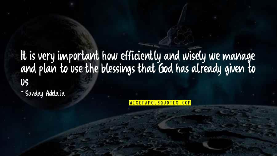 Use It Wisely Quotes By Sunday Adelaja: It is very important how efficiently and wisely