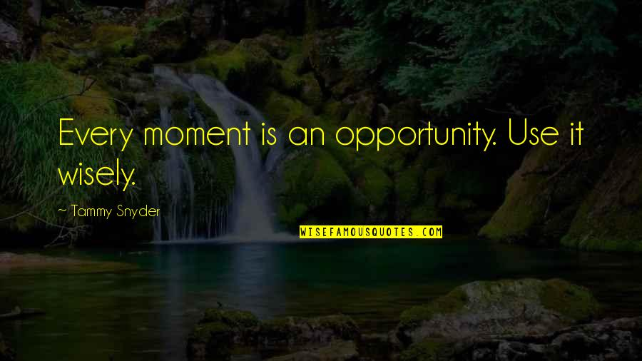 Use It Wisely Quotes By Tammy Snyder: Every moment is an opportunity. Use it wisely.