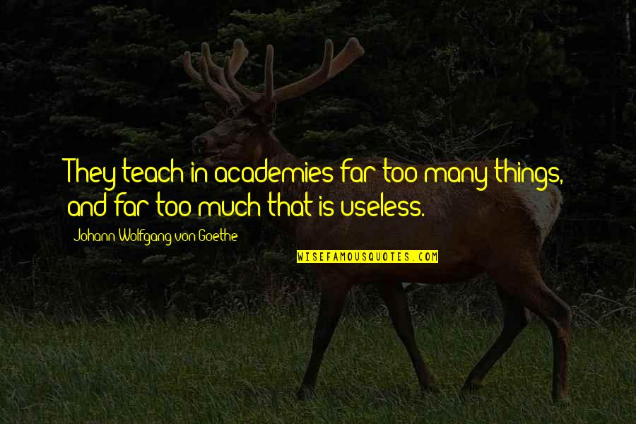 Useless Things Quotes By Johann Wolfgang Von Goethe: They teach in academies far too many things,