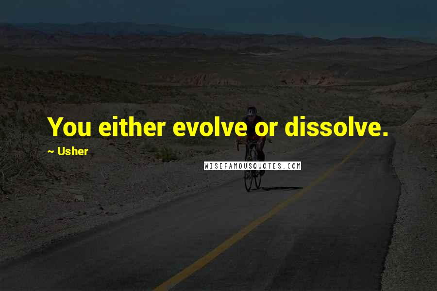 Usher quotes: You either evolve or dissolve.