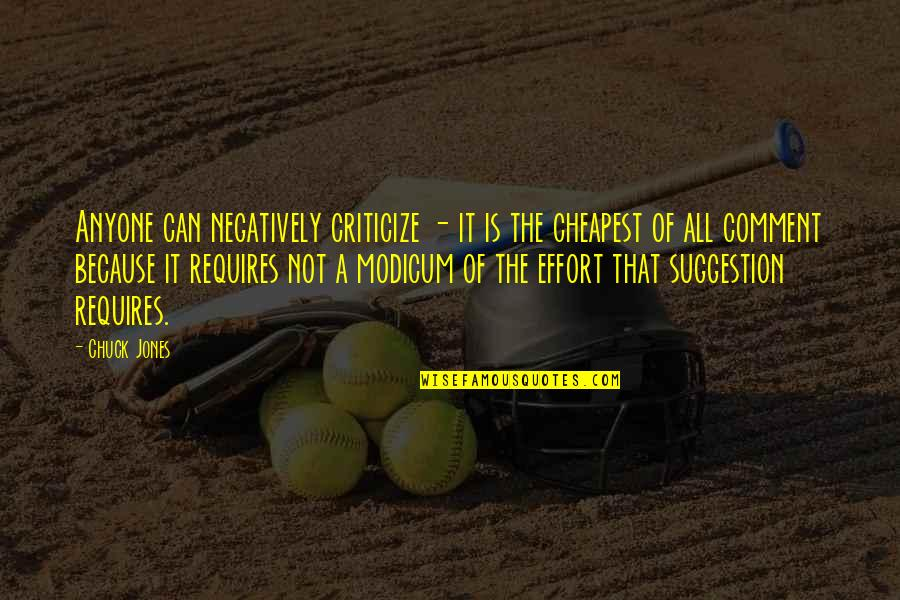 Utahns Quotes By Chuck Jones: Anyone can negatively criticize - it is the