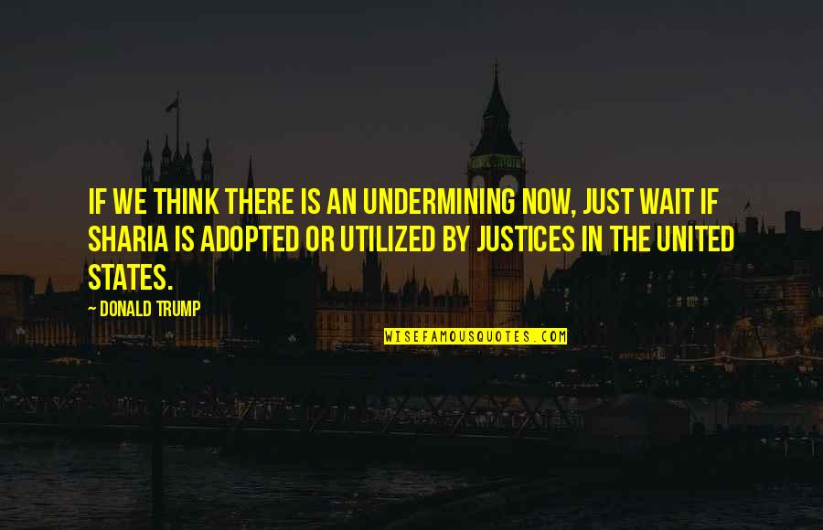Utilized Quotes By Donald Trump: If we think there is an undermining now,