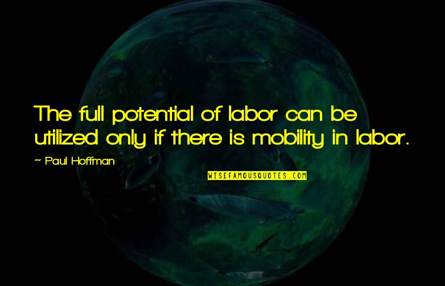 Utilized Quotes By Paul Hoffman: The full potential of labor can be utilized