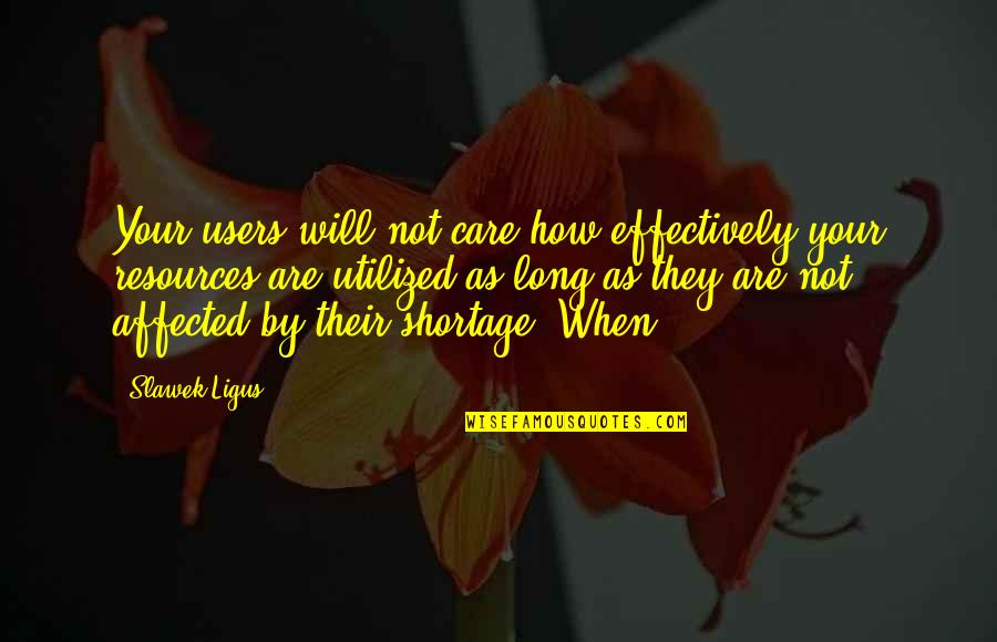 Utilized Quotes By Slawek Ligus: Your users will not care how effectively your