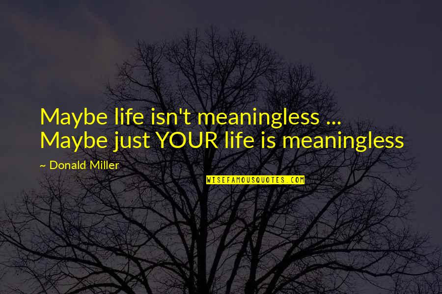 Utsutsu Gatchaman Quotes By Donald Miller: Maybe life isn't meaningless ... Maybe just YOUR