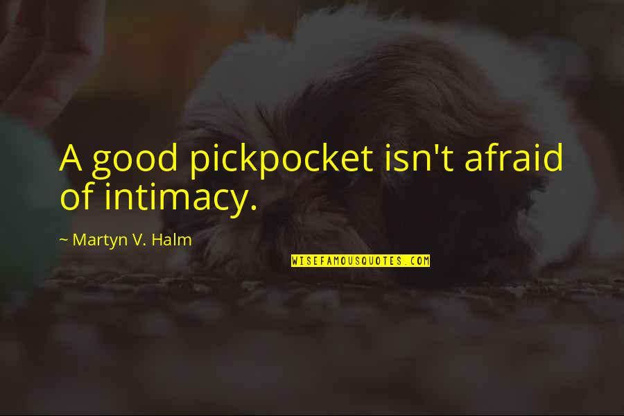 V&a Quotes By Martyn V. Halm: A good pickpocket isn't afraid of intimacy.