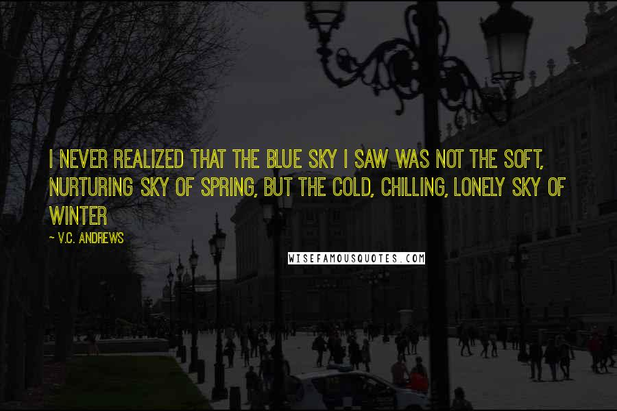 V.C. Andrews quotes: I never realized that the blue sky I saw was not the soft, nurturing sky of spring, but the cold, chilling, lonely sky of winter