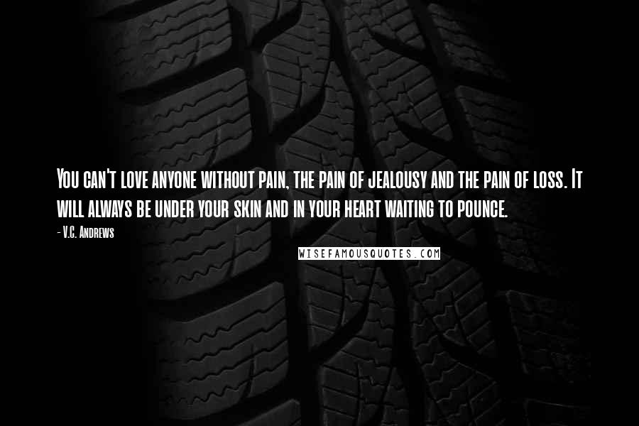 V.C. Andrews quotes: You can't love anyone without pain, the pain of jealousy and the pain of loss. It will always be under your skin and in your heart waiting to pounce.