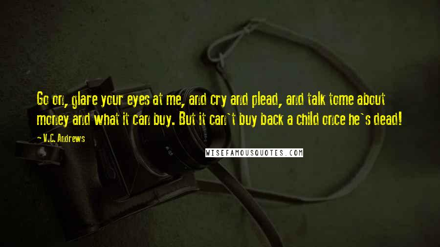 V.C. Andrews quotes: Go on, glare your eyes at me, and cry and plead, and talk tome about money and what it can buy. But it can't buy back a child once he's