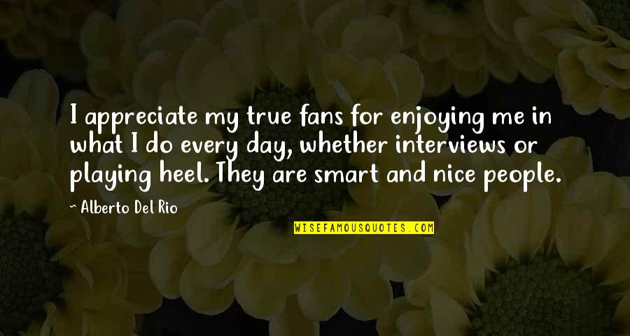 Vacation Over Back Work Quotes By Alberto Del Rio: I appreciate my true fans for enjoying me