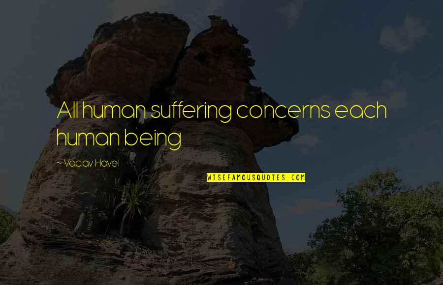 Vaclav Quotes By Vaclav Havel: All human suffering concerns each human being