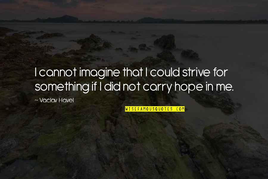 Vaclav Quotes By Vaclav Havel: I cannot imagine that I could strive for
