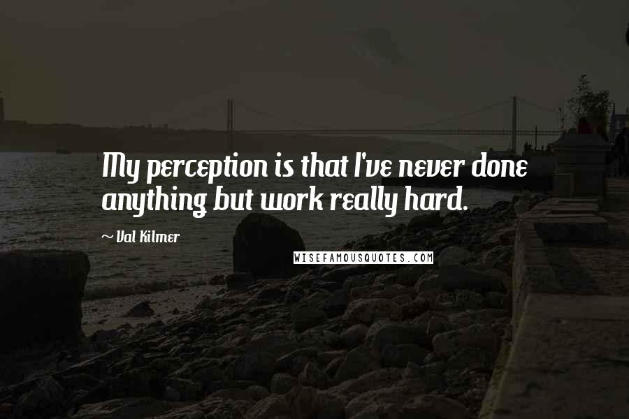 Val Kilmer quotes: My perception is that I've never done anything but work really hard.