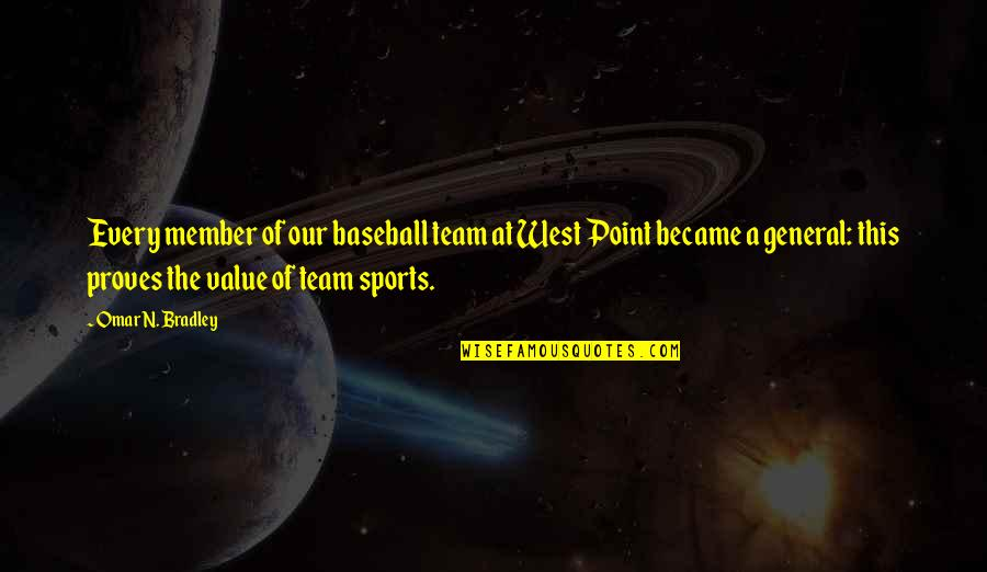 Value Of Team Sports Quotes By Omar N. Bradley: Every member of our baseball team at West