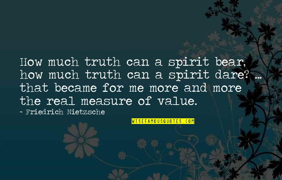 Value Of Truth Quotes By Friedrich Nietzsche: How much truth can a spirit bear, how