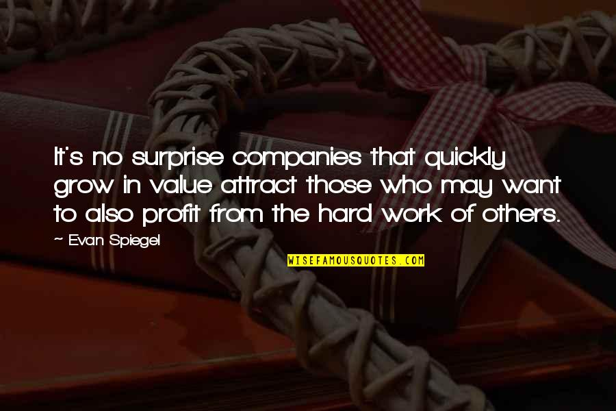 Value Of Work Quotes By Evan Spiegel: It's no surprise companies that quickly grow in