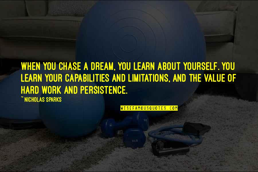 Value Of Work Quotes By Nicholas Sparks: When you chase a dream, you learn about