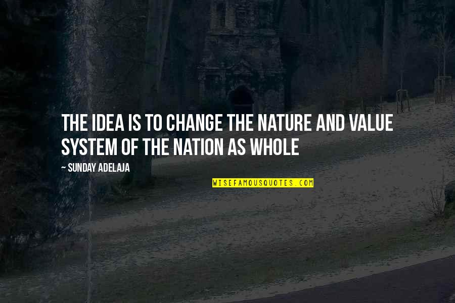 Value Of Work Quotes By Sunday Adelaja: The idea is to change the nature and