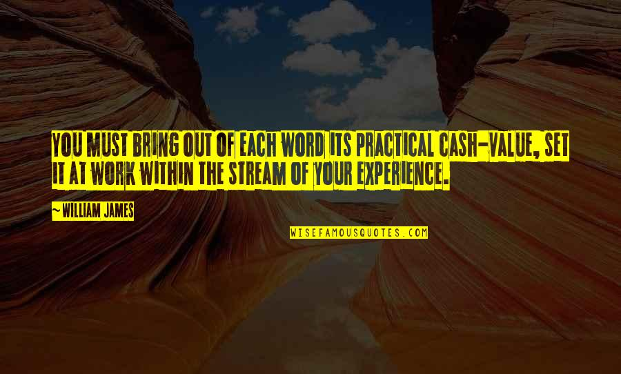 Value Of Work Quotes By William James: You must bring out of each word its