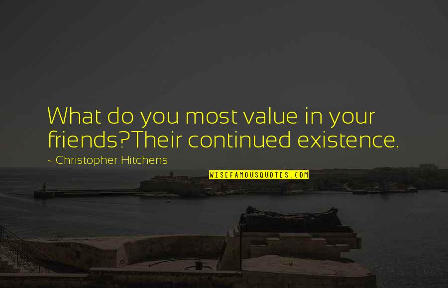 Value Your Life Quotes By Christopher Hitchens: What do you most value in your friends?Their