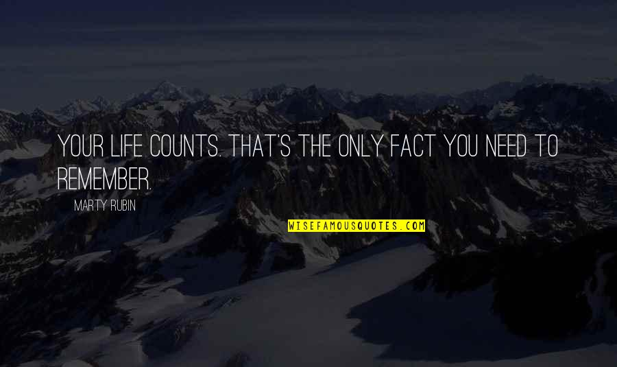 Value Your Life Quotes By Marty Rubin: Your life counts. That's the only fact you