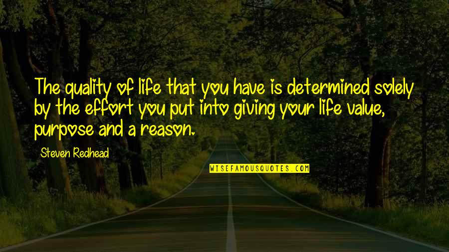 Value Your Life Quotes By Steven Redhead: The quality of life that you have is