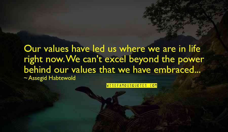 Values In Life Quotes By Assegid Habtewold: Our values have led us where we are